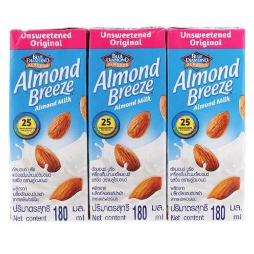 บลูไดมอนด์ อัลมอนด์บรีช เครื่องดื่มนมอัลมอนด์ รสจืด 180 มิลลิลิตร แพ็ก 3นมยูเอชที-นมสเตอริไรส์นมเครื่องดื่ม.