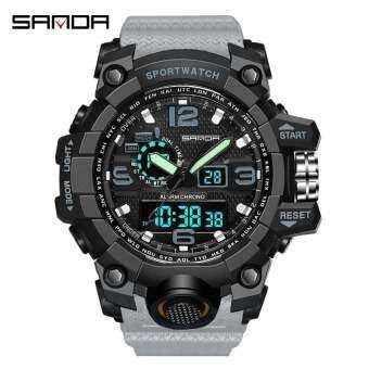 SANDA ผู้ชายกีฬาทหารนาฬิกาผู้ชายนาฬิกาสุดหรูที่มีชื่อเสียงอิเล็กทรอนิกส์นำนาฬิกาดิจิตอลนาฬิกาข้อมือชาย 742 - นานาชาติ