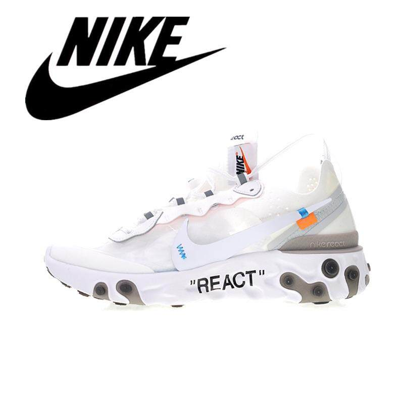 __Nike Secret Elements REACT ELEMENT 87 Off white x OW Men's Mesh Breathable Running Shoes Women's Lightweight Sneakers White AQ0068-100 #36-45 new