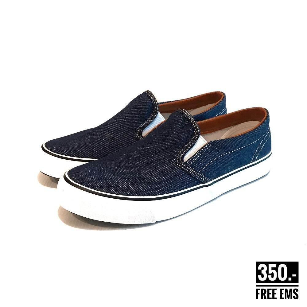 รองเท้าผ้าใบแบบสวม Goldcity Ns010 สีกรมยีนส์ รองเท้า Slip On ผู้ชาย.
