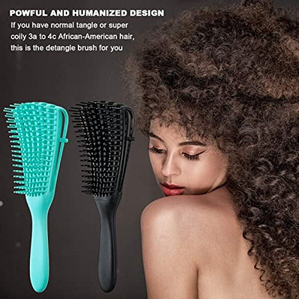 2 Pcs Detangling Brush for Afro African Hair Textured 3A to 4C Kinky Wavy/Curly/Coily/Wet/Dry/Oil/Thick/Long Hair