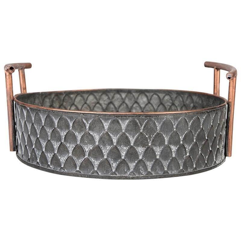 European Handcrafted Round Antique Decorative Trays With Handles Retro Desk Kitchen Storage Organizer For Home Decor