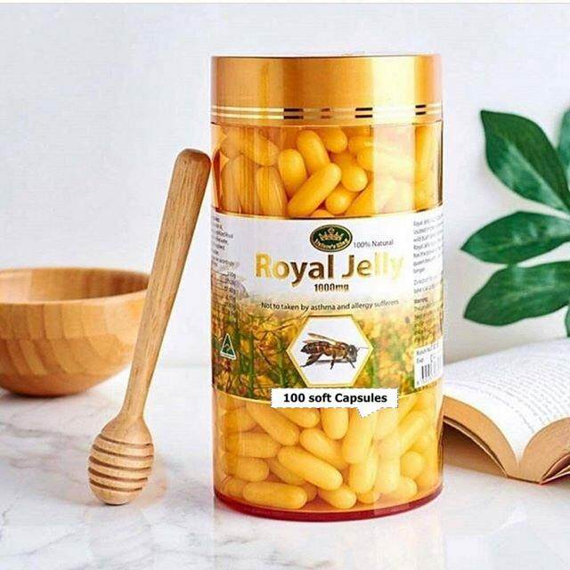 Royal Jell Nature 's king royal jelly 1000mg อาหารเสริมนมผึ้ง 100. soft capsules.