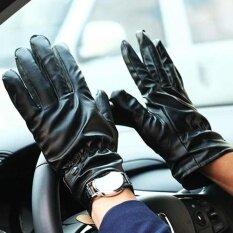 1 คู่ถุงมือหนังสีดำผู้หญิงผู้ชายถุงมือหนังฤดูหนาวที่อบอุ่นถุงมือ - นานาชาติ.