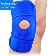 ทบทวน ที่สุด 1 Pcs Outdoor Sports Open Knee Support Sleeve Stabilizer Splint Protector Climbing Adjustable Knee Pad Brace Black Color Black Blue Intl