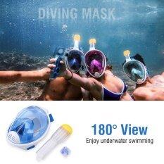ซื้อ 180° Full Face Spearfishing Diving Mask Surface Snorkel Scuba For Gopro Heroyi Blue Xs Intl ถูก ใน จีน