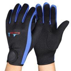 ขาย ซื้อ 1Pair Diving Snorkeling Surfing Water Sport Skid Proof Wetsuit Gloves Black Blue L Intl