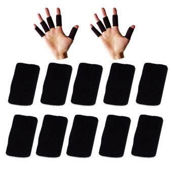 ที่รัดข้อนิ้ว ปลอกนิ้ว ผ้ารัดนิ้ว สำหรับ มือ 2 ข้าง สีดำ สำหรับการเล่นกีฬา เช่น บาสเก็ตบอล วอลเล่ย์บอล / Finger Support
