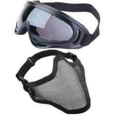2 ใน 1 ป้องกันตาข่ายหน้ากาก X400 รังสียูวีความปลอดภัยแว่นตาปืนอัดลมเพ้นท์บอลสีดำ.