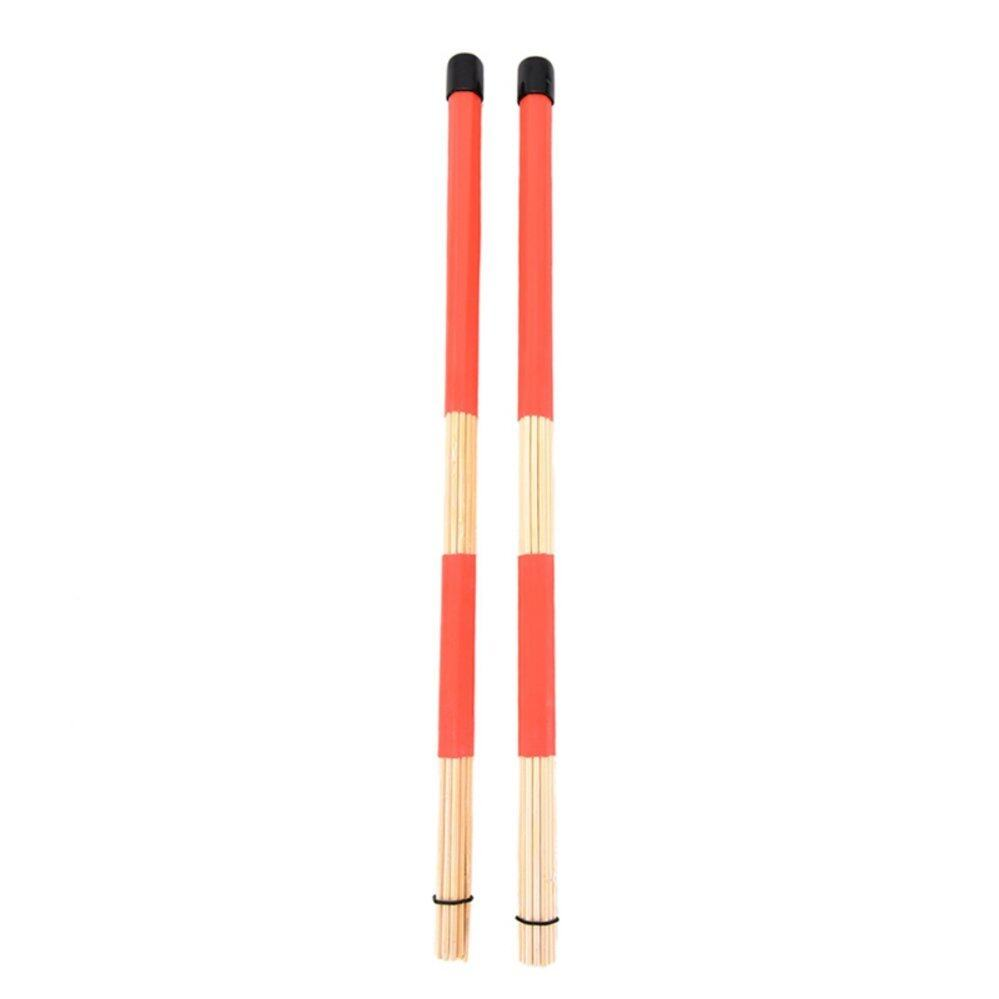 รีวิว 2Pcs Drum Brushes Jazz Drum-Sticks Percussion Balance Set Made Of Bamboo 40CM Red – intl