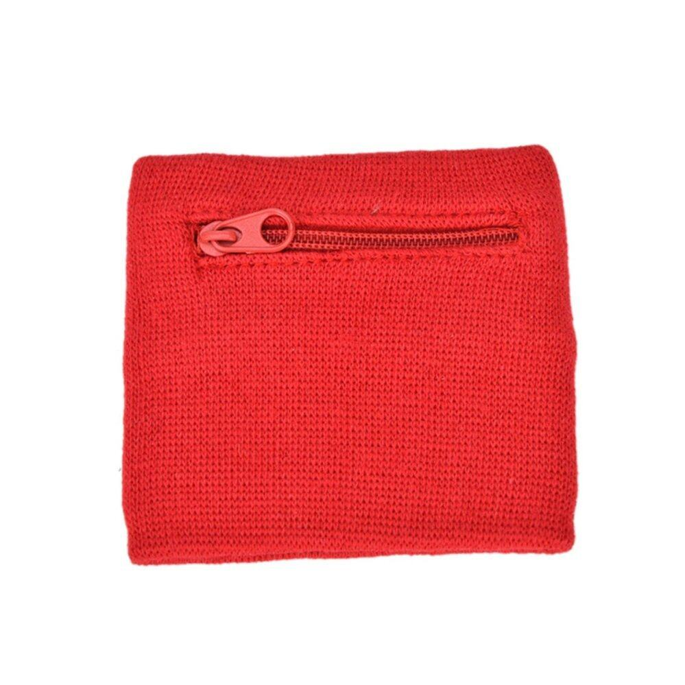 รีวิว 2Pcs Outdoor Sports Cycling Jogging Running Gym Fleece Zipper Wrist Wallet Pouch Band Red – intl