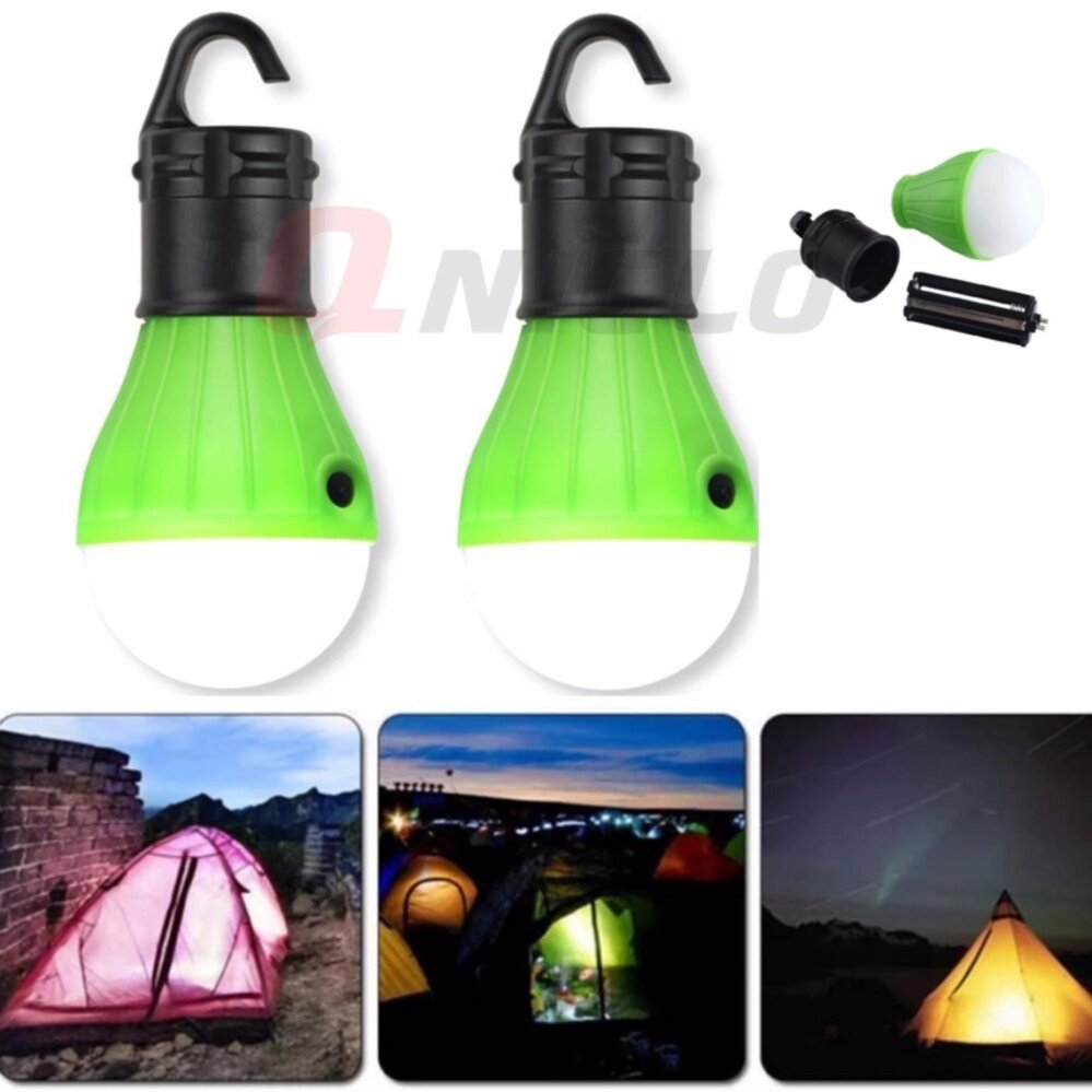 2Pcs Portable Emergency Camping Tent Lamp แคมป์เต็นท์โคมไฟ LED Saving Lamp Outdoor Hiking Camping โคมไฟ(Green)