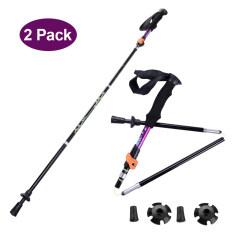 ราคา 2Pcs ไม้เท้าเดินป่า Telescopic Folding Alpenstock Aluminum Hiking Climbing Trekking Pole Walking Sticksblack ที่สุด
