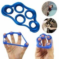 ขาย 3 ชิ้นมือนิ้วมือ Strength Exerciser เทรนเนอร์ Strengthener Grip Resistance Band ความตึงเครียด 5 นิ้วการออกกำลังกายวงแหวน 0090