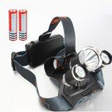 ซื้อ 3X Cree Xm L2 Xml2 T6 Led 4000Lm 3T6 Headlamp Headlight ใหม่