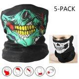 ทบทวน 5 Pack Skull Face Masks Motorcycle Riding Bandana Headwear Scarf Outdoor Dustproof �C Multifunctional Seamless Tublar Thin
