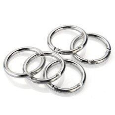 ซื้อ 5Pcs Carabiner Clip Hook Keychain Keyring Camping Round Circle Silver Tone Alloy Thailand
