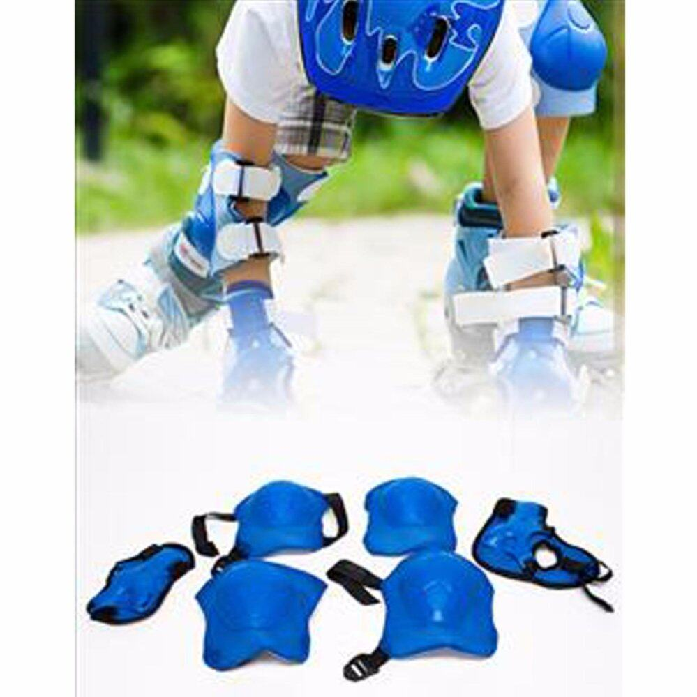 6 ชิ้น อุปกรณ์กันเด็กล้ม อุปกรณ์กันกระแทกเด็ก ชุดสนับเข่าและศอกสำหรับเด็ก : สีน้ำเงิน