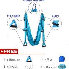 ขาย Free 6Pcs Handle 4Pcs Hooks 6Pcs Buckles 1Pc Bag 6 Colors Decompression Hammock Inversion Trapeze Anti Gravity Aerial Traction Yoga Gym Swing Strap Belt Hanging จีน
