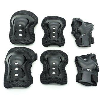 6pcs Kids Cycling Roller Skating Cycling Set Knee Elbow Wrist Protective Gear Pads Support Set 1051(Black)