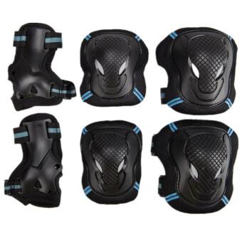 6ชิ้นโต ๆ เล่นสเก๊ตสกู๊ตเตอร์ป้องกันข้อศอกหัวเข่าด้านใต้ชุดเฟือง (สีน้ำเงินสีดำ s)