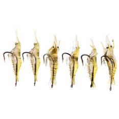6 ชิ้นกุ้งปลอมเหยื่อตกปลากุ้งนุ่ม Lure เบ็ดแท็กเกิลเหยื่อ.