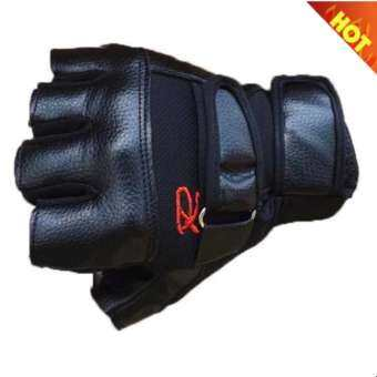 7-fifteen ถุงมือฟิตเนส ถุงมือยกน้ำหนัก Fitness Glove 1 คู่ รุ่น R (สีดำ)