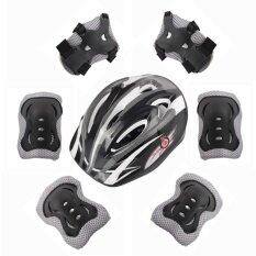 ราคา 7 Sets Of Children S Skating Knee Knees Helmet Beginner Bike Protection Helmet Black Intl ถูก