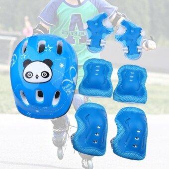ชุดอุปกรณ์ป้องกันสำหรับเล่นสเก็ตบอร์ด 7 ชิ้น (สีฟ้า)