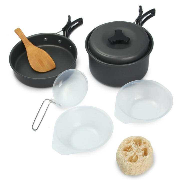 ซื้อที่ไหน 2-3 Persons Outdoor Cooking Cookware Pots… รีวิว 8ชิ้นชามอ่างหม้อหุงกลางแจ้งเซ็ต (สีเทา)