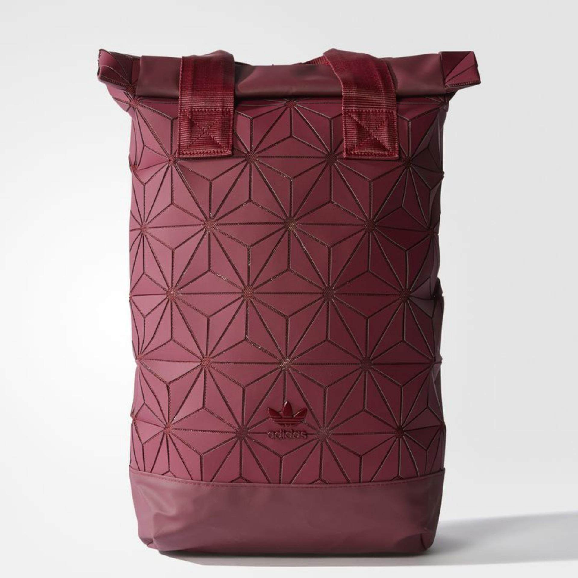 Adidas Originals 3D Roll Top Backpack Collegiate Burgundy DH0101 geometric panels on mesh