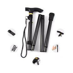 ทบทวน Adjustable Aluminum Metal Walking Stick Folding Collapsible Travel Cane With Non Slip Rubber Base Intl