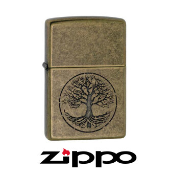 ไฟแช็ค Zippo 29149 ต้นไม้แห่งชีวิต Tree of Life Antique Brass USA