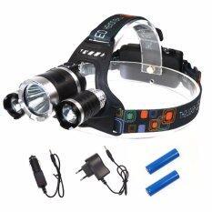 ราคา ไฟฉายLed 3 หัว แบบคาดหัว Headlamp 6000 Lumen สีดำ ใหม่