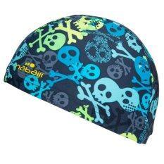 หมวกว่ายน้ำชนิดผ้า (สีเทา/เหลือง ลาย ALLSKULL)