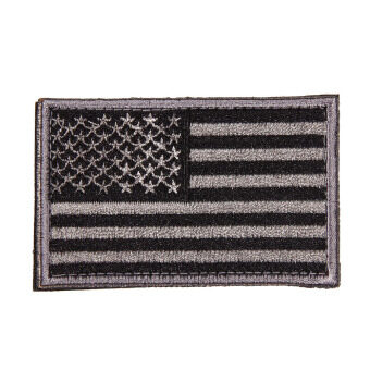 American Flag Embroidered Patch Patriotic USA Military Tactics Patch (Grey) - Intl