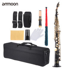 ขาย ซื้อ Ammoon Brass Straight Soprano Sax Saxophone Bb B Flat Woodwind Instrument Natural Shell Key Carve Pattern With Carrying Case Gloves Cleaning Cloth Straps Cleaning Rod Intl ใน ฮ่องกง