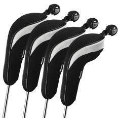 ซื้อ Andux 4Pcs Set Golf Hybrid Club Head Covers Headcovers Interchangeable Black ใน จีน