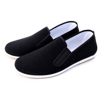 Andux Martial Art Kung Fu Tai Chi Shoes Dichotomanthes Sole Old Beijing Clothes Unisex Shoes TJX-01 Black