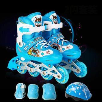 Anpanman รองเท้าสเก็ตโรลเลอร์เบลด แบบปรับขนาดได้ พร้อมชุดอุปกรณ์ป้องกัน รุ่น Front Flash RollerBlade Set - ขนาด L