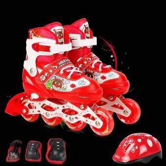 Anpanman รองเท้าสเก็ตโรลเลอร์เบลด แบบปรับขนาดได้ พร้อมชุดอุปกรณ์ป้องกัน รุ่น Front Flash RollerBlade Set - ขนาด M