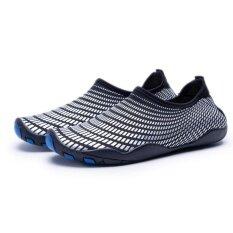 ราคา นุ่มลื่นไถลเล่นสกีน้ำรองเท้าดำน้ำรองเท้าชายหาดรองเท้ากีฬาแข็งแรงแข็งแรงกลางแจ้งเดินลุยรองเท้าแห้งเร็ว สีดำและสีฟ้า Unbranded Generic ใหม่