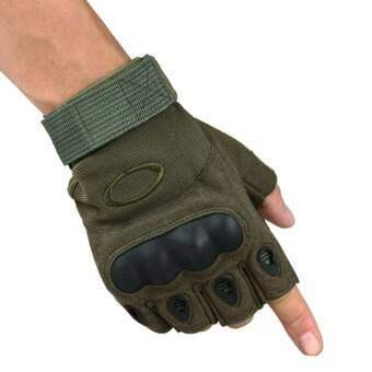 Antiskid ยุทธวิธีครึ่งถุงมือแบบเปิดครึ่งนิ้วการต่อสู้การฝึกซ้อมกีฬาฟิตเนสถุงมือครึ่งนิ้วสี: สีเขียวทหารขนาด: M