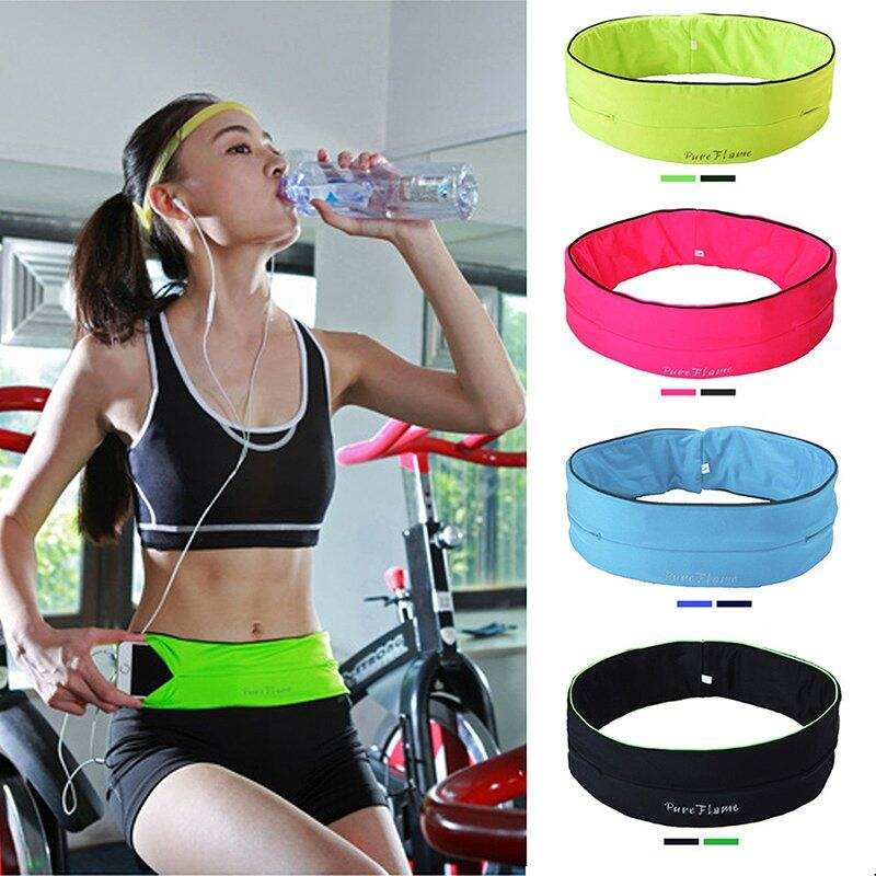 Belly Waist Bum Bag Fitness Running Jogging Cycling Belt Pouch Sports Fanny Pack Black M