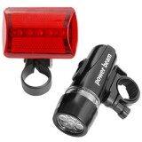 Bicycle Bike 5 Led White Headlight Red Rear Tail Safety Lights Lamp Holder เป็นต้นฉบับ