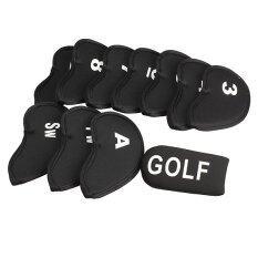 สีดำชุด 11 ชิ้น Golf Club พัตเตอร์ปลอกหุ้มหัวเหล็กกรณีแขนป้องกัน By Welcomehome.