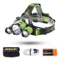 โปรโมชั่น Boruit 2200Lm Cree Xml L2 2 Xpe Led Headlight Adjustable Headlamp 4 Modes With Sos Whistle For Camping Fishing Cycling Green
