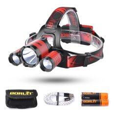 Boruit 2200Lm Cree Xml L2 2 Xpe Led Headlight Adjustable Headlamp 4 Modes With Sos Whistle For Camping Fishing Cycling Red ใน Thailand