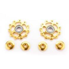 ซื้อ Buytra Aluminum Jockey Wheel Rear Derailleur Pulleys 2Pcs Yellow ออนไลน์