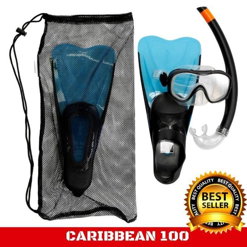 หน้ากากดำน้ำท่อหายใจสำหรับเด็ก CARIBBEAN 100 Size EU 32-33 ชุดสุดคุ้ม!